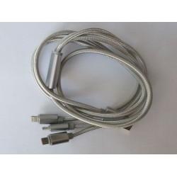 USB захранващ кабел 3 in 1 micro USB and Lightning, нов