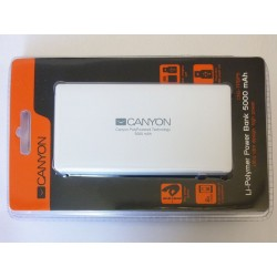 Външна батерия (Power bank) Canyon CNS-TPBP5W, 5000mAh, 2xUSB, Lightning, бяла, нова