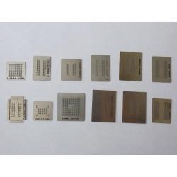 Шаблони (stencils, стенсили) chip size за ребол (reball) на BGA чипове, за памети, 12 броя