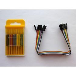 Микро щипки за чипове, цветни, 10 броя, с джъмпер кабел