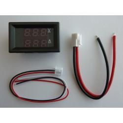 DC цифров волтметър и амперметър, 100V, 10A, с LED дисплей