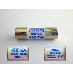 DMI предпазител SIBA 5021006, 440mA 1000V 30kA, 10x35мм