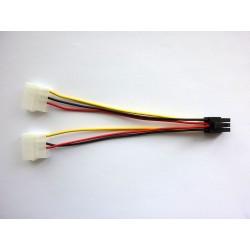 Cable adapter 2 x Molex to PCI-E (F-M), 15cm