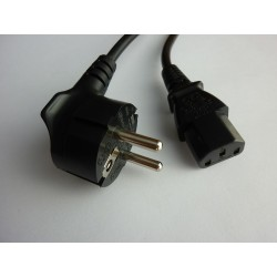 AC захранващ кабел Шуко ъглов към C13, 1.2м (3x0.75)