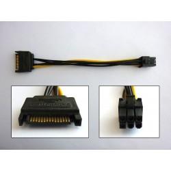 Кабел преходник SATA Power към PCI-E (M-M), 15см