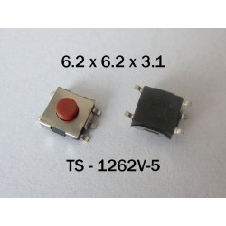 Microbutton (tact switch) TS-1262V-5, 6.2x6.2x3.1mm, NO, SMT mounting