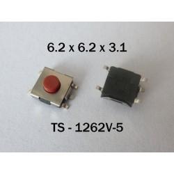 Микробутон TS-1262V-5, 6.2x6.2x3.1мм, незадържащ, НО, SMT монтаж