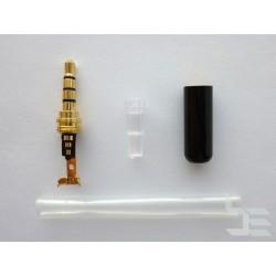 3.5мм аудио конектор, 4-пинов, мъжки, черен, за монтаж към кабел
