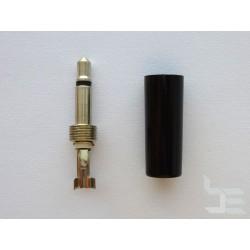 3.5мм аудио конектор, 2-пинов, мъжки, черен, за монтаж към кабел