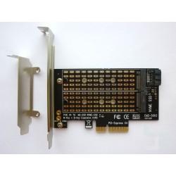 Адаптер M.2 PCI-E SSD към PCI-E x4 конектор и M.2 SATA SSD към SATA конектор