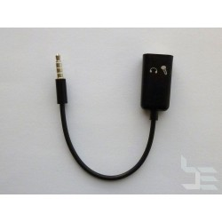 Audio cable splitter 3.5mm 4-pin (M) to 2 x 3.5mm 3-pin (F), 15cm