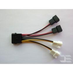 Кабел преходник Molex (М) към 2 x 12V + 2 x 5V (М) конектори за вентилатор, 10см