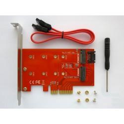 Адаптер M.2 PCI-E SSD към PCI-E x4 конектор и M.2 SATA SSD към SATA конектор, v2